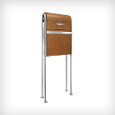 77018-120 + 77022-013 Caree free-standing mailbox with newspaper holder