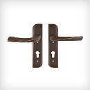 Allez interior door lever set with short plates, 72 mm centers, PC slot, DIN right